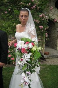 Happy bride at Hattonchatel, France